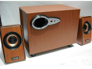 OFNOTE YD-211 2.1 PC Computer Subwoofer Speaker  RMS System Subwoofer with 2 Speakers for Computer, MP3 Players, Wood Structured