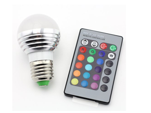 E27/E26 Standard Screw Base 16 Colors Changing Dimmable 3W RGB LED Light Bulb with IR Remote Control for Home Decoration/Bar/Party/KTV Mood Ambiance Lighting