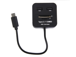 USB 3.1 Type-C 2-Port USB 2.0 Hub TF SD Card Reader Combo Splitter for Mobile Hard Disk, Mobile Phone, Tablet PC, USB Flash Disk, Mouse, Keyboard