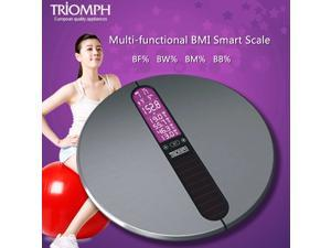 Triomph Digital Bathroom BMI Smart Weight Scale, Body Fat, Water, Muscle, Bone, Touch Screen LCD Backlight Display, Stainless Steel Platform, 330 Pounds Capacity, Memorize 12 Users, 3 Units, Silver