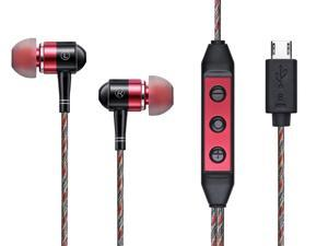 Z:ero digital earphone - Red, the world's first digital earphone that has built-in DAC and amplifier, connects to PC/Android USB port and recreates high fidelity music