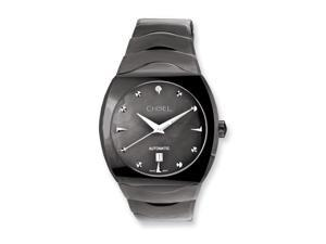 Chisel Mens Chisel Tungsten & Black Mother of Pearl Black Dial Watch