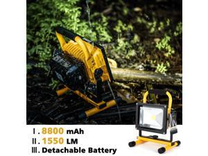 Weanas® 20W LED Work Shop Floodlight Portable Rechargeable Tent Emergency Lamp 8800mAh Detachable Battery Adapter USB Car Charger Waterproof White for Outdoor Trouble Traveling Camping Hiking Fishing