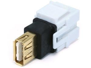 Keystone Jack - USB 2.0 A Female to A Female Coupler Adapter, Flush Type (White)