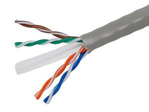 1000FT Cat6 Bulk Bare Cable Copper Ethernet Cable, UTP, Solid, Riser Rated (CMR), 350MHz, 23AWG - Gray - GENERIC