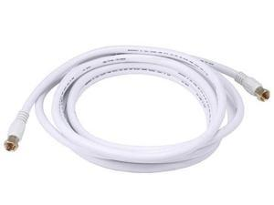 12ft RG6 (18AWG) 75Ohm, Quad Shield, CL2 Coaxial Cable with F Type Connector - White