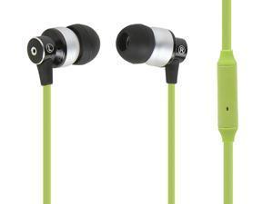 Hi-Fi Reflective Sound Technology Earphones w/ Microphone-Green/Silver