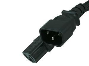 6ft 16AWG Power Extension Cord Cable with 3 Conductor PC/Mon (C13/C14), Black