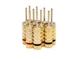 5 PAIRS OF High-Quality Gold Plated Speaker Pin Plugs, Pin Screw Type