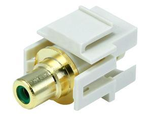 Keystone Jack - Modular RCA w/Green Center, Flush Type (Ivory)