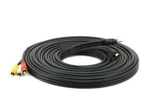 25ft S-Video|3.5mm Stereo to Composite RCA|RCA Stereo Combo 22AWG Cable (Gold Plated) (6163)