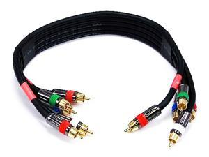 1.5ft 18AWG CL2 Premium 5-RCA Component Video/Audio Coaxial Cable (RG-6/U) - Black (4715)