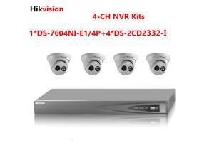 Upgradable Hikvision 4CH NVRDS-7604NI-E1/4Pwith 1SATA 4 POE and Hikvision 4xDS-2CD2332-I 3MP outside IR POE IP camera kits ONVIF