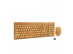 Art Handmade 2.4GHz Wireless Bamboo Keyboard Mouse Multimedia Function Keys & Mouse Combo