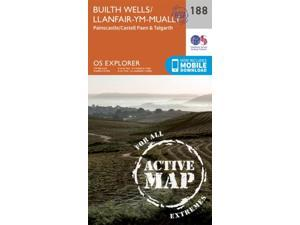 OS Explorer Map Active (188) Builth Wells, Painscastle and Talgarth (OS Explorer Active Map) (Map)