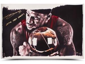 "LeBRON JAMES Signed ""2012 NBA Champs"" 16 x 24 Magic Moment Photo LE 100 UDA."