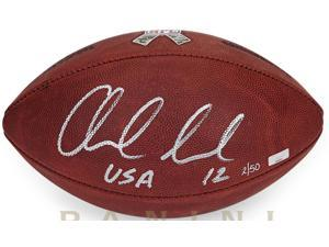 "ANDREW LUCK Signed & Inscribed ""USA"" Salute To Service Football LE 12/50 PANINI."