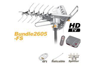 LAVA Bundle HD-2605 Outdoor Antenna with FlatCable + 4-Way Splitter