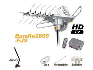 LAVA Bundle HD-2605 Outdoor Antenna with Flat Cable & J-Pole & 4-Way Splitter