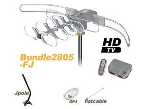 Lava Bundle HD-2805 Outdoor Antenna with Flat Coaxial Cable + J-Pole