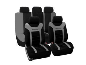 AUTO-VOX Full Set Unique Flat Cloth Seat Cover Front Seat Back Seat Covers Detachable Headrests and Solid Bench Universal Fit for Car, Truck, Suv, or Van