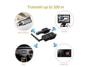 Autovox TR1 Wireless RCA Video Transmitter Receiver for CAR Rearview Camera/Mirror Monitor Easy Installation For All Car/Car Cigarette lighter   Charger Connection 100M Long Distance Transmission