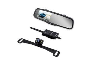 AUTOVOX T1400W Wireless Parking Reverse Assistance System 4.3 Inch Rearview Mirror Monitor Night Vision License Plate Camera transmitter & Car Charger Easy installation Auto Adjust Brightness