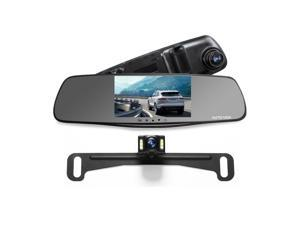 AUTO-VOX M3 Full HD 1080P Dual Lens DVR Dash Camera Record Front and Rear Video 5? Screen Rear view Mirror Monitor Auto Reverse with Waterproof Night Vision License Plate Parking Camera