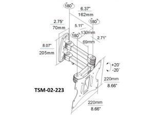OSD Audio TSM-02-223 Full Motion Tilt and Swivel Wall Mount for 17-Inch to 37-Inch LCD TV