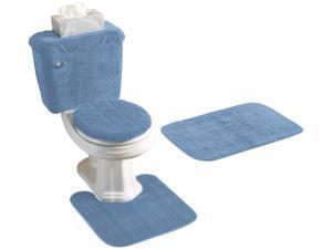 5 PIECE BATH RUG, CONTOUR, LID, TANK LID & TANK COVER SET, BLUE
