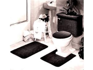 5 PIECE BATH RUG, CONTOUR, LID, TANK LID & TANK COVER SET, BLACK