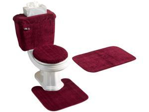 5 PIECE BATH RUG, CONTOUR, LID, TANK LID & TANK COVER SET, BURGUNDY