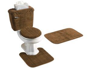 5 PIECE BATH RUG, CONTOUR, LID, TANK LID & TANK COVER SET, BROWN