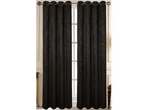 Set of 2 Ivy Blackout Flocked Grommet Top Curtain Drapery Panels 84 inch L, Black