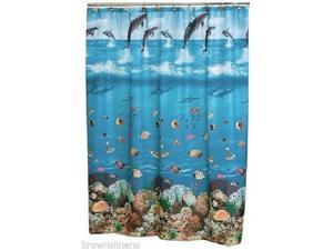 SEASCAPE BLUE FABRIC SHOWER CURTAIN, DOLPHINS, FISH, OCEAN, BEACH, SEASHELLS 