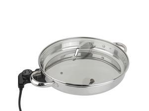 "CooksEssentials 12"" Round Stainless Steel Skillet with Glass Lid"