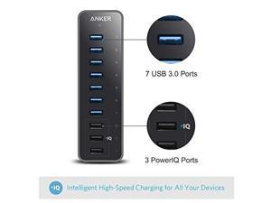 Anker 10-Port 60W USB 3.0 Hub with 7 Data Transfer Ports and 3 PowerIQ Charging Ports for iPhone, iPhone 6s, iPhone 6s Plus, iPad, Samsung and More