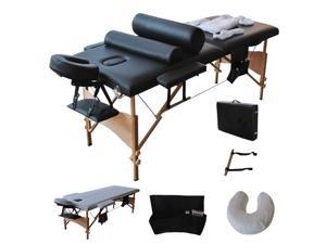 """84"""" Portable Massage Table with Sheet, Cradle Cover, 2 Bolsters & Hanger"""