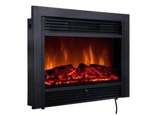 """28.5"""" Fireplace Electric Embedded Insert Heater Glass View Log Flame Remote"""