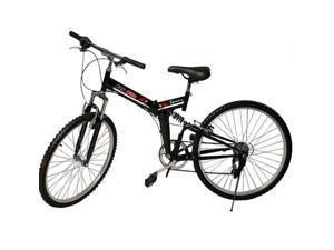 "26"" Folding 7 Speed Mountain Bike Bicycle Shimano School Sport Black"