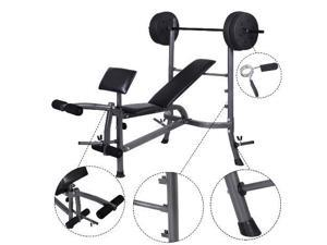 Weight Curl Bench Press Gym Workout Home Exercise Fitness w/ 80lb Weight Plates