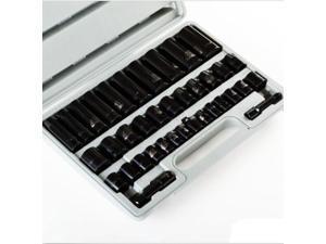 "38 PCS 3/8"" & 1/2"" Drive Combo Impact Socket Set High Impact Tools w/ Case"