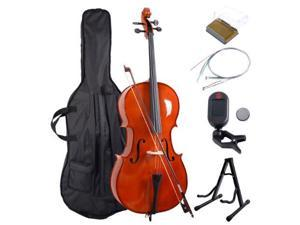 Wood 4/4 Full Size Acoustic Cello w/ Case Bow Stand Strings Tuner Rosin