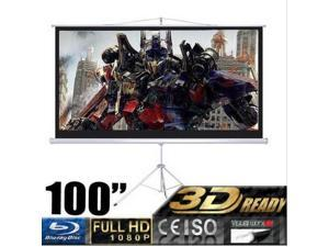 "100"" D Manual Portable Projector Projection Screen 16:9 87""x49"" Foldable Tripod"