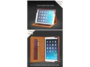 Acase new arrival fashion drop resistance Genuine leather case for Apple ipad air2/ iPad6 with multi-angle retail package