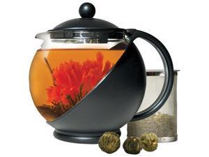 Primula Flowering Tea Set w/Half Moon 40oz. Pot Black/Glass