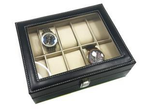 Men's Black Leather Display Glass Top Jewelry Case Organizer Watch Box - 10 Storage Pillows