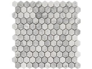 Sample of 1x1 Arabescato Carrara  Hexagon Honed