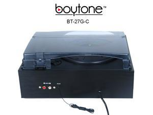 Boytone BT-27G-C Bluetooth connection 3-Speed Stereo Turntable, 2 built in Speakers Digital LCD Display AM/FM Radio, USB/SD/AUX+ Cassette/MP3 & WMA Playback /Recorder & Headphone Jack + Remote control