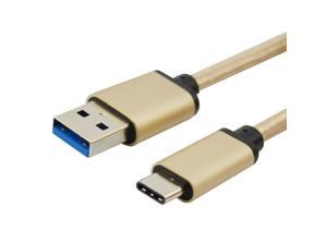 USB-C to USB 3.0 Braided Aluminum Charging/Data Cable - Macbook Gold Color - 2 Meter Length